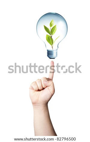 Hand pointing to light bulb with green plant inside. GO GREEN concept