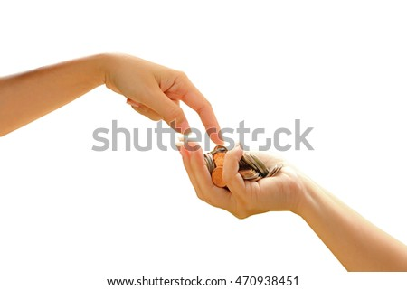hand pointing to pile of coins in hand ,isolated white background with clipping path