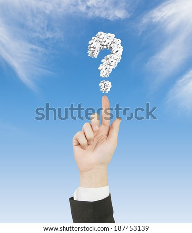 hand pointing to question mark
