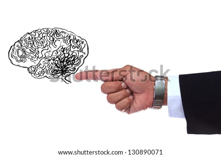 hand pointing to smart brain isoalted white - stock photo