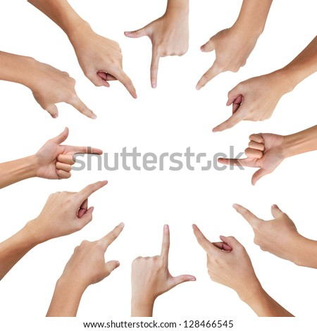 Hand pointing to the same direction , Teamwork business concept - stock photo