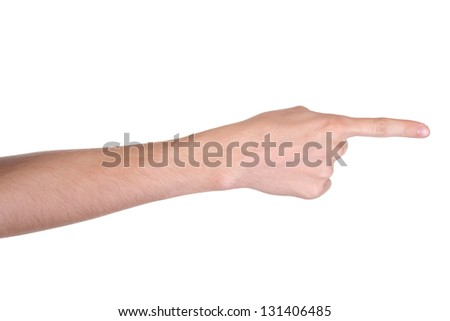 Hand pointing, touching or pressing, isolated on white background - stock photo