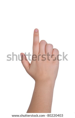 Hand pointing, touching or pressing isolated on white. Caucasian female. - stock photo