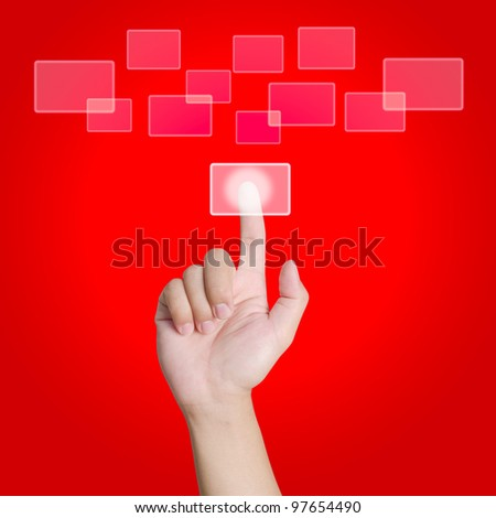 Hand pointing, touching or pressing on red background - stock photo