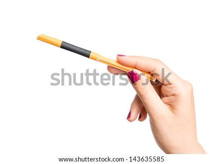 Hand pointing with pencil