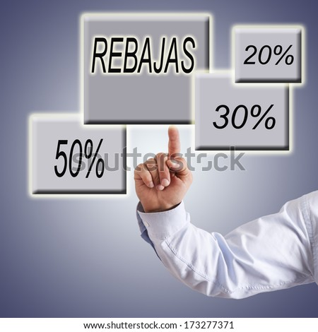 hand pointing words rebates and discounts
