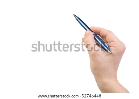 hand points out by pen