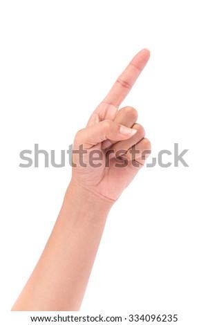Hand poiting symbol isolated on white background - stock photo
