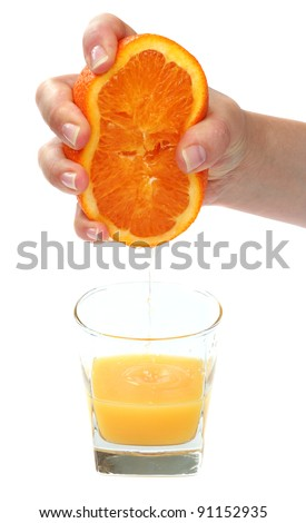 hand pour orange juice from orange - stock photo