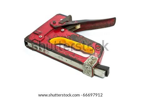 hand powered stapler, isolated on white - stock photo