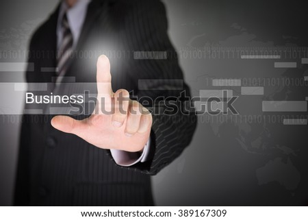 Hand present the modern multimedia business type buttons on network concept structure,Businessman  - stock photo