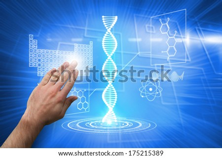 Hand presenting against background with glowing squares - stock photo