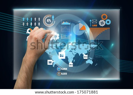 Hand presenting against clock on technical background