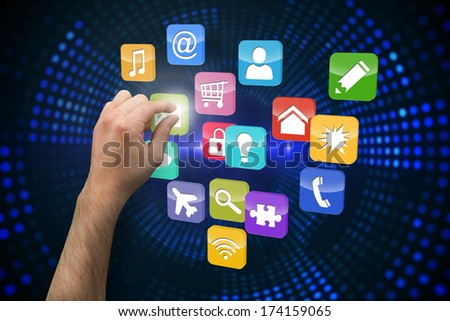 Hand presenting against futuristic dotted blue and black background