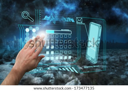 Hand presenting against serene landscape with city on the horizon at night - stock photo