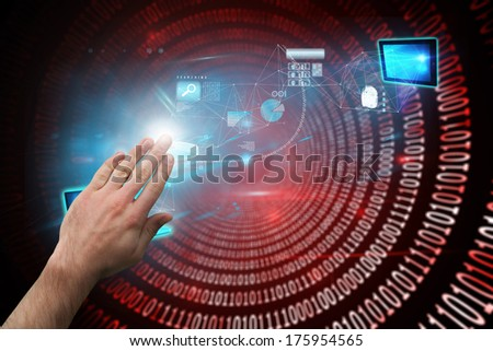 Hand presenting against shiny red binary code on black background - stock photo