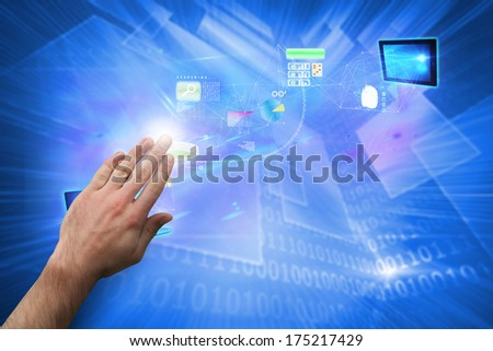 Hand presenting against shiny technological background