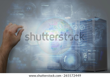 Hand presenting against three digital grey server towers - stock photo