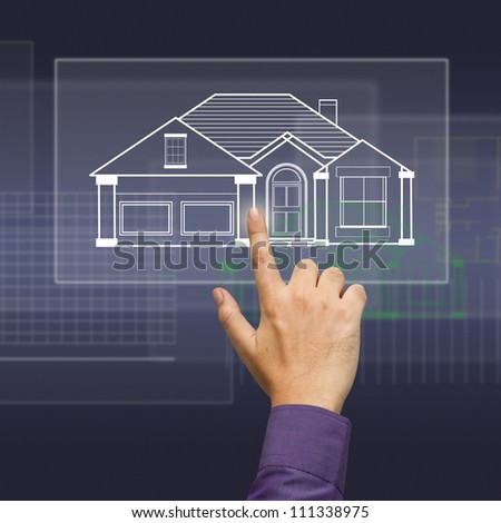 Hand press a house model on touchscreen