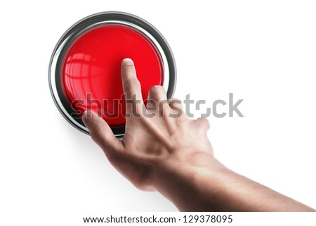 hand press on big Red button isolated on white background High resolution. 3D image - stock photo