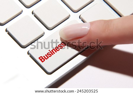Hand press on business button