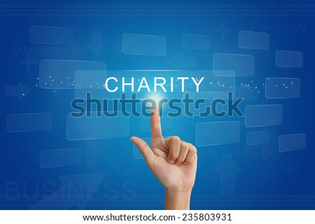 hand press on charity button on virtual screen