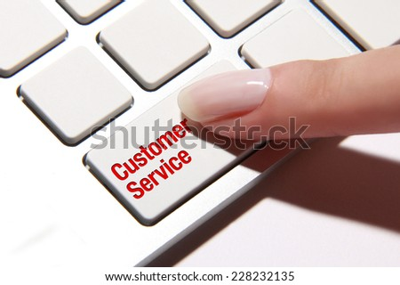 Hand press on customer service button
