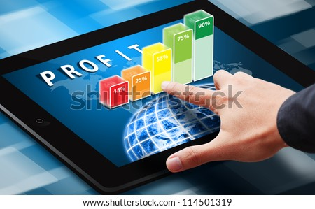 Hand press on 3D bar graph : Elements of this image furnished by NASA - stock photo