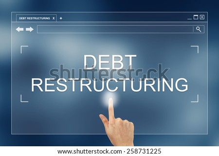 hand press on debt restructuring button on webpage - stock photo