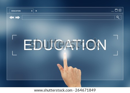 hand press on education button on webpage - stock photo