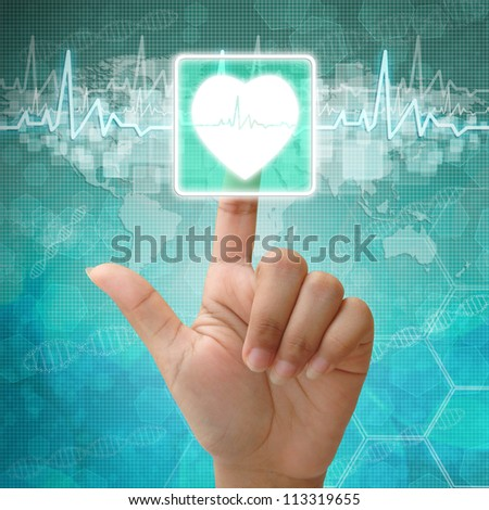 Hand press on Heart Symbol ,medical icon - stock photo