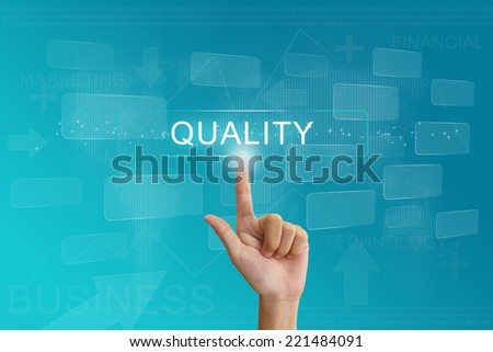 hand press on quality button on virtual screen