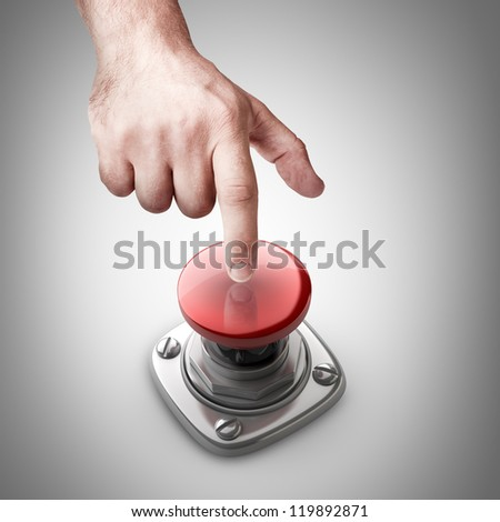 hand press on Red button High resolution. - stock photo