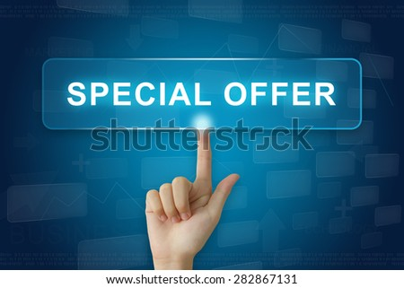 hand press on special offer button on virtual screen - stock photo