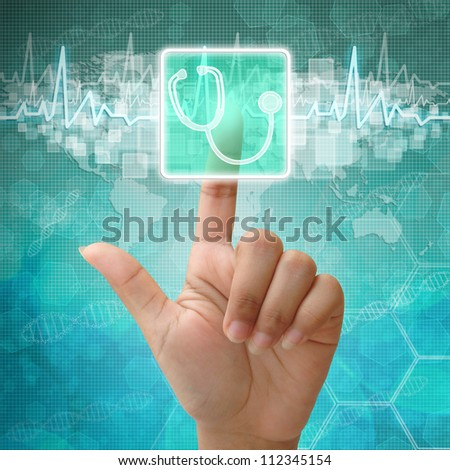 Hand press on Stethoscope symbol , medical background