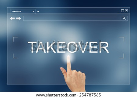 hand press on takeover button on webpage - stock photo