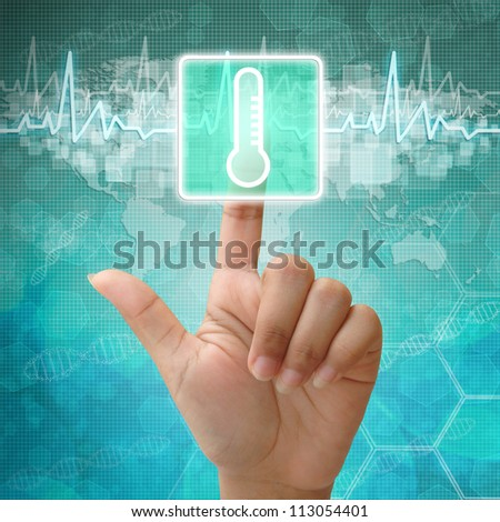 Hand press on Thermometer Symbol ,medical icon - stock photo