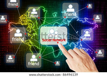 Hand press the button social network that connect to other people - stock photo