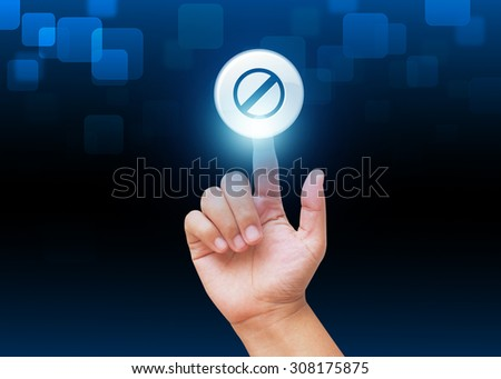 Hand press warning sign on technology background - stock photo