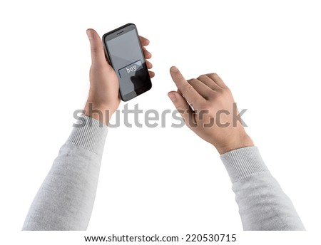 hand presses the buy button on smartphone,  purchase in the online store on white isolated background