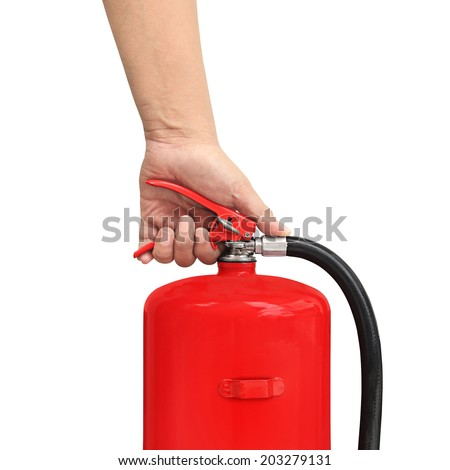 hand presses the trigger fire extinguisher - stock photo