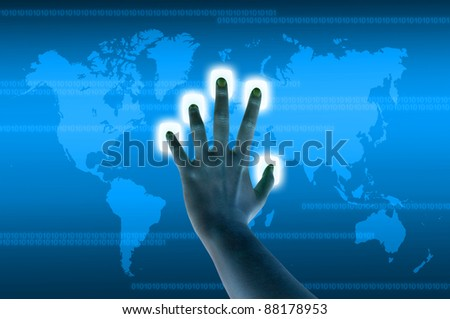 hand pressing a button on a touch screen interface - stock photo