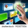 hand pressing a button streaming images on a touch screen interface - stock photo