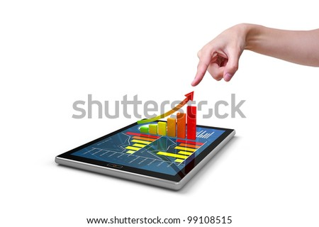 Hand pressing a 3d chart on tablet, isolated on white - stock photo