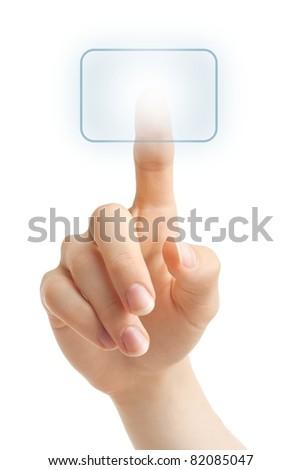 Hand pressing a virtual button - stock photo