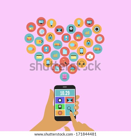 hand pressing  applications graphical user interface flat icons  heart  on smart phone,