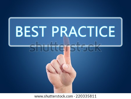 Hand pressing Best Practice button on interface with blue background. - stock photo