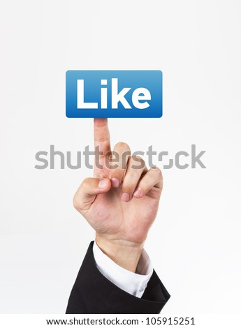 Hand pressing blue like button. White background. - stock photo