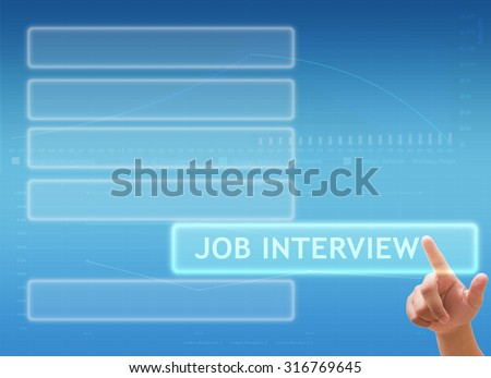 "hand pressing button on touch screen interface and select ""Job Interview"""