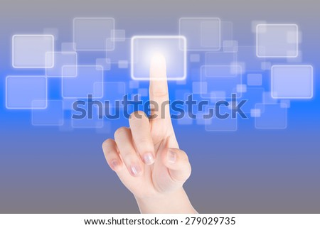 Hand pressing button with technology background